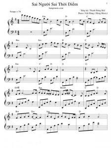 hợp âm sai người sai thời điểm Sheet nhạc - Hợp Âm Chuẩn